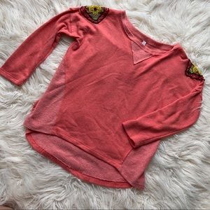 Coral Terry Pullover Hi-Low Sweatshirt with Beads